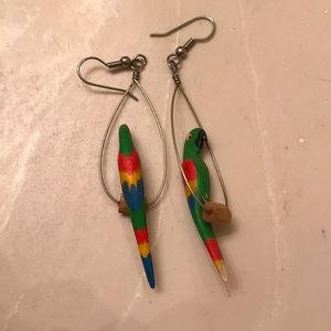 Hand painted parrot earrings!